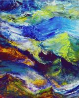 Turbulent Stream Abstract by znkf0908