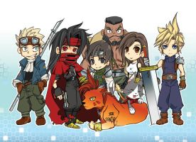 ff7 postcard 1: chibi group by Ptit-Neko
