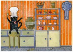 My cat loves hats-kitchen by Adnil