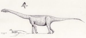 Andesaurus life reconstruction by palaeozoologist