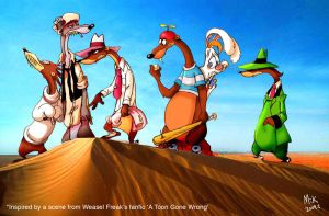 Weasels and rabbit in desert by mikmix