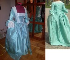 Blue-green Robe a l'Anglaise by LadyCafElfenlake