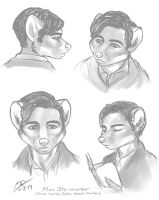 Character concept sketches - Max Steinmarder by Moody-Ferret