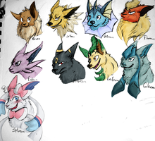Eeveelutions by wolf-wishes