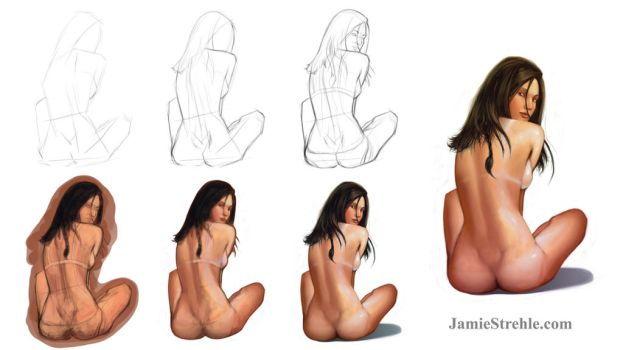 sitting girl tutorial by jameswolf