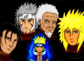 Naruto and the 4 Hokages by prpettersen