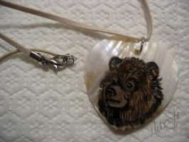 painted abalone bear pendant by Miss-Melis