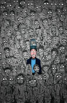 Zombies after a brain in a jar by JonBeanHastings