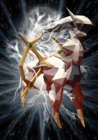 arceus paperkraft with background by magicalyuki