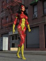 Spider-Woman vs Two Cops 01 by DahriAlGhul