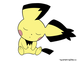 Sleeping Pichu by Nightwind-Dragon