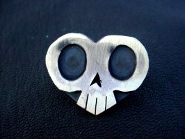 Sterling Skull Heart Pin by TheNailBoy