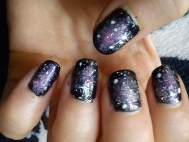 Galaxy Nail Art by EnelyaSaralonde