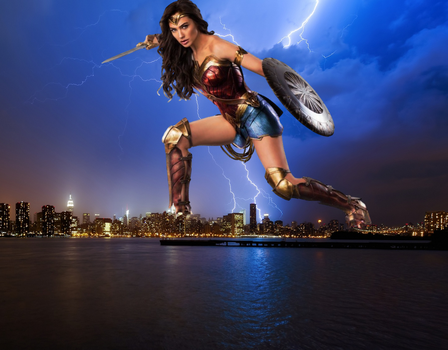 Giant Wonder Woman: Over New York City by CMWaters