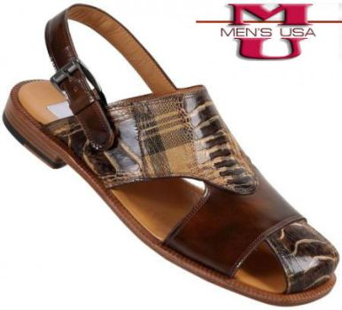 Scottish Brown Shade Genuine Ostrich Leg Sandals by mensusasuits