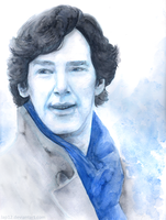 Sherlock-watercolour and coloured pencils portrait by Lap12