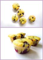 Sticky Blueberry Muffins With Vanilla Chunks by Daedhalus