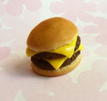 polymer clay double cheeseburger by ScrumptiousDoodle