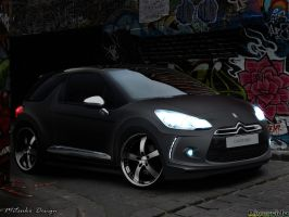 Citroen DS3 Black Matte by mitsukodesign
