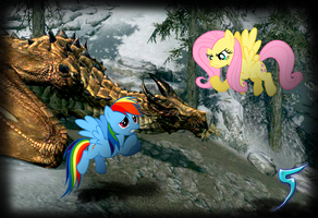 Fluttershy Stands Up To The Dragon (Skyrim) by TabbyDerp