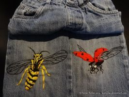 Hand Made Embroidery - Wasp and Ladybug by Lawrichai