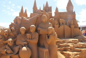 Sand Sculpture - Castle and Characters by Aidan98