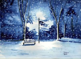 Snowfall in the Park by Tater-Vader
