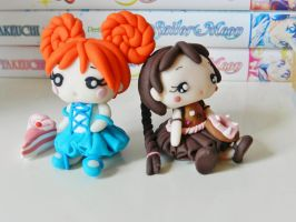 Chocolate and mermaid dolls (fimo) by NekoIsy