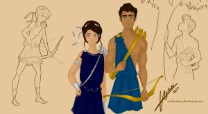 Artemis & Apollo by Asarrion