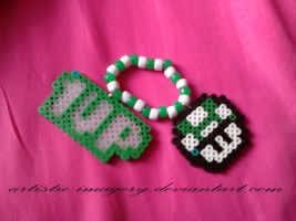 mushroom and one up perler bead bracelet by Artistic-Imagery