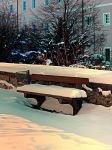 Snow covered bench by patrickjobst