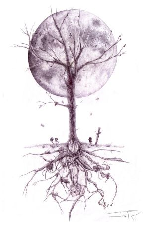 tree tattoos on side. The tree would be a little