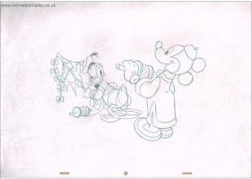 Mickey and Donald Production Cel Drawing by AnimationValley
