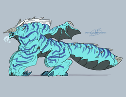 Comm - Ice Dragon by SpottedAlienMonster