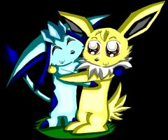Glaceon And Jolteon. by LoneWolf-FarAway