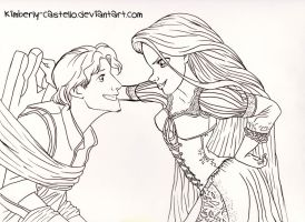 Disney: Tangled Line-art by kimberly-castello