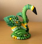 Small Green Swan (3D Origami) by Denierim