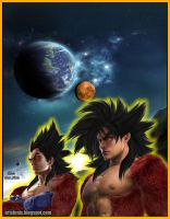 vegeta e goku ssj 4 real by artsfenix