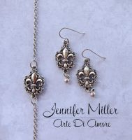 Fleur De Lis Bracelet and Earrings by ArteDiAmore