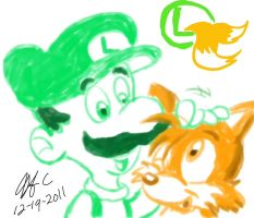 Tails n Luigi- A simple pic of cuteness by spongefox