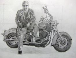 LifeDrawing: Man on Motorcycle by Shinji-Fox