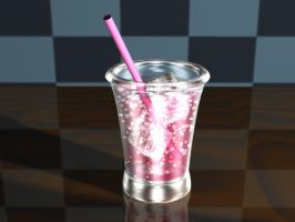 Pink Softdrink in a Glass by Thalionrin