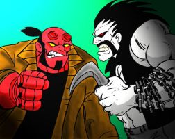 Hellboy vs Lobo by Koku-chan