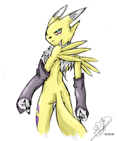 Renamon_rough pencil by EmeraldSora