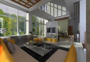 Green Cove BSD interior_living room 01 by vaD-Endz