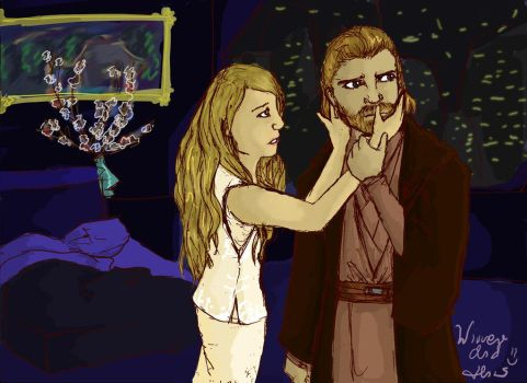 Lea and Obi-Wan (Request for kennycheer) by Wirrer