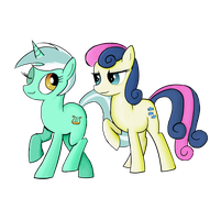 Lyra and Bon Bon by inivonwini