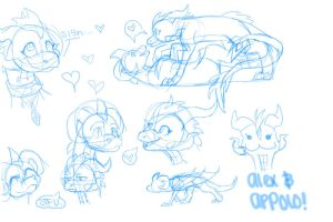 alex and appolo doodles by aacrell