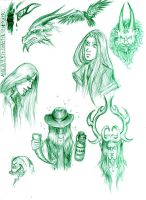 Green Sketches by Raenyras