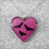 I Heart Bats Pendant by poisons-sanity